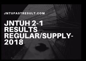 JNTUHB.Pharm 2-1 Regular/Supply Results 2018