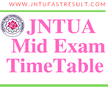 JNTUA B.Pharm Mid Exam Time Tables
