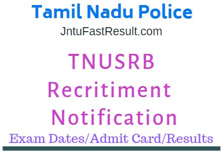 Tamil Nadu Police Constable Admit Cards 2019