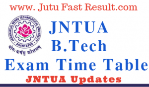 JNTUA B.Tech Exam Time Tables 2020